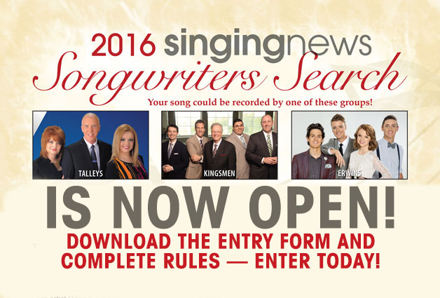 2016 Singing News Songwriters Search NOW OPEN!