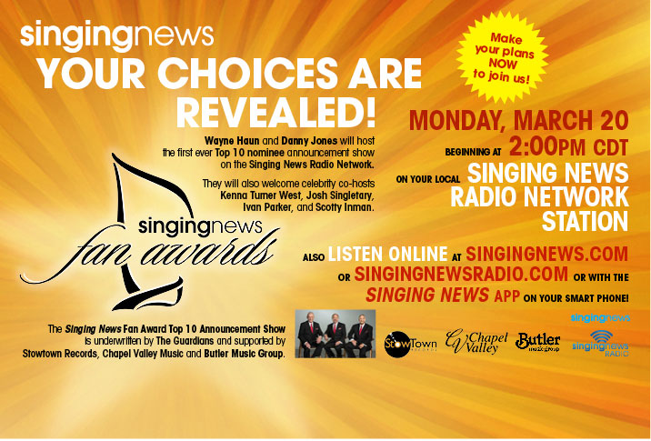 Singing News Fan Awards Top 10 To Be Revealed In Special On-Air Broadcast