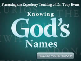 Knowing God&#39;s Names