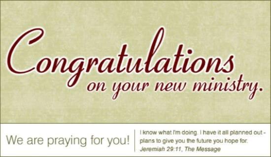 Congratulations - New Ministry ecard, online card