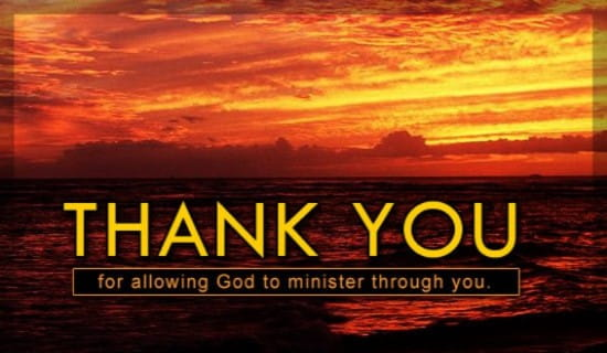 free thank you for allowing god to minister ecard
