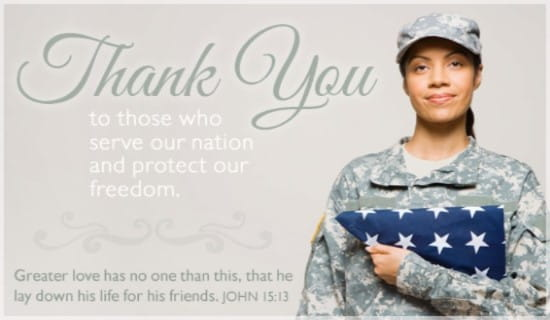 Free Thank You eCard - eMail Free Personalized Patriotic Cards Online: https://www.crosscards.com/cards/patriotic/thank-you-military.html