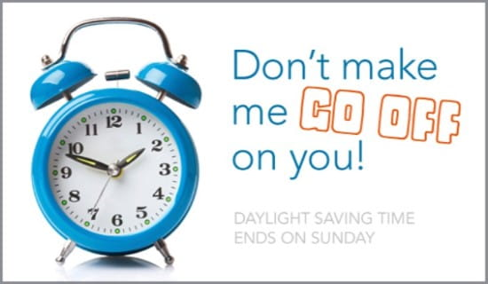 Daylight Saving Time Ends ecard, online card