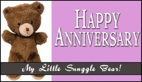 Happy Anniversary Snuggle Bear ecard, online card