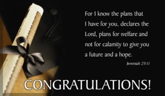Congrats! Jeremiah 29:11