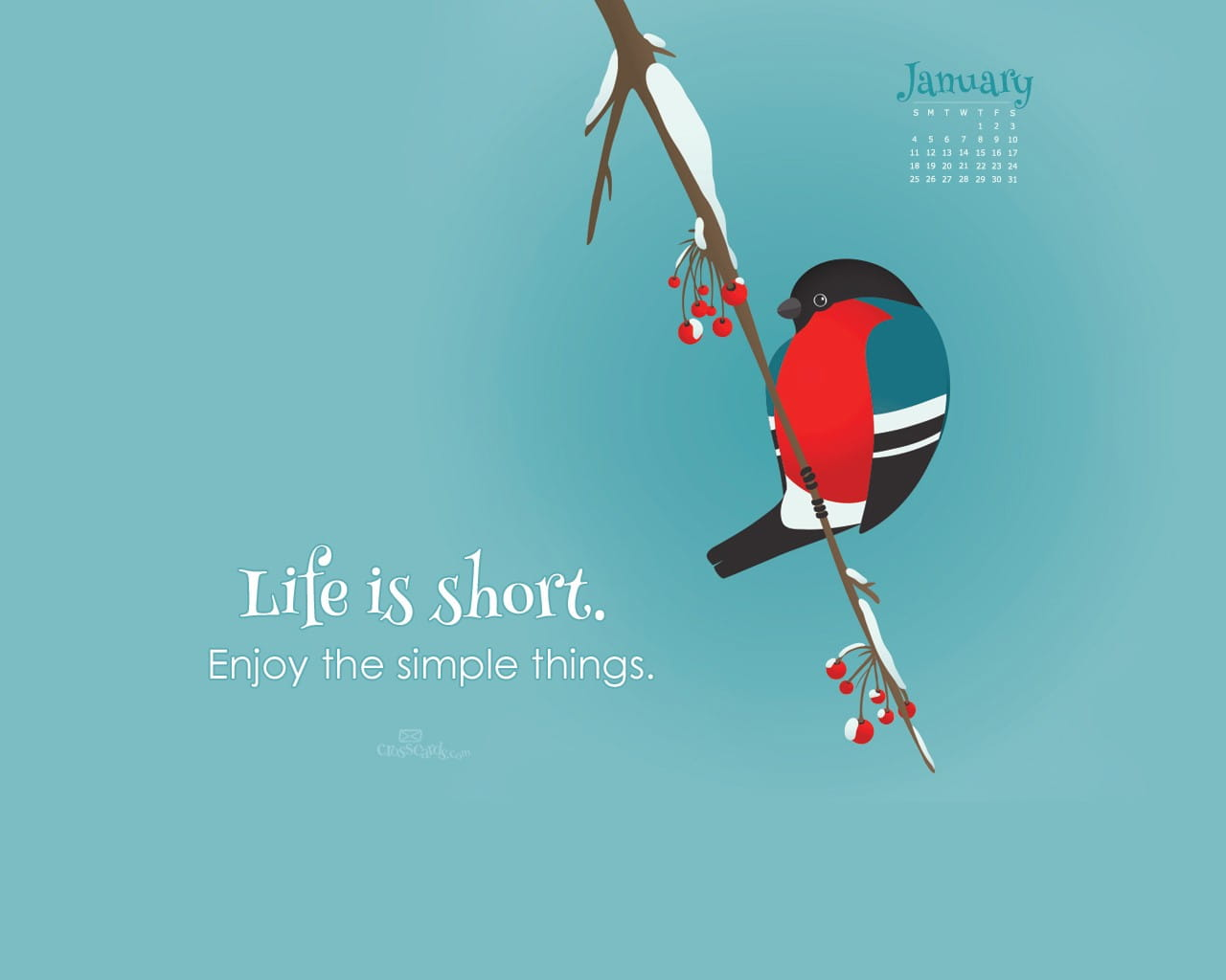 Weekly Calendar Wallpaper : January life is short desktop calendar free