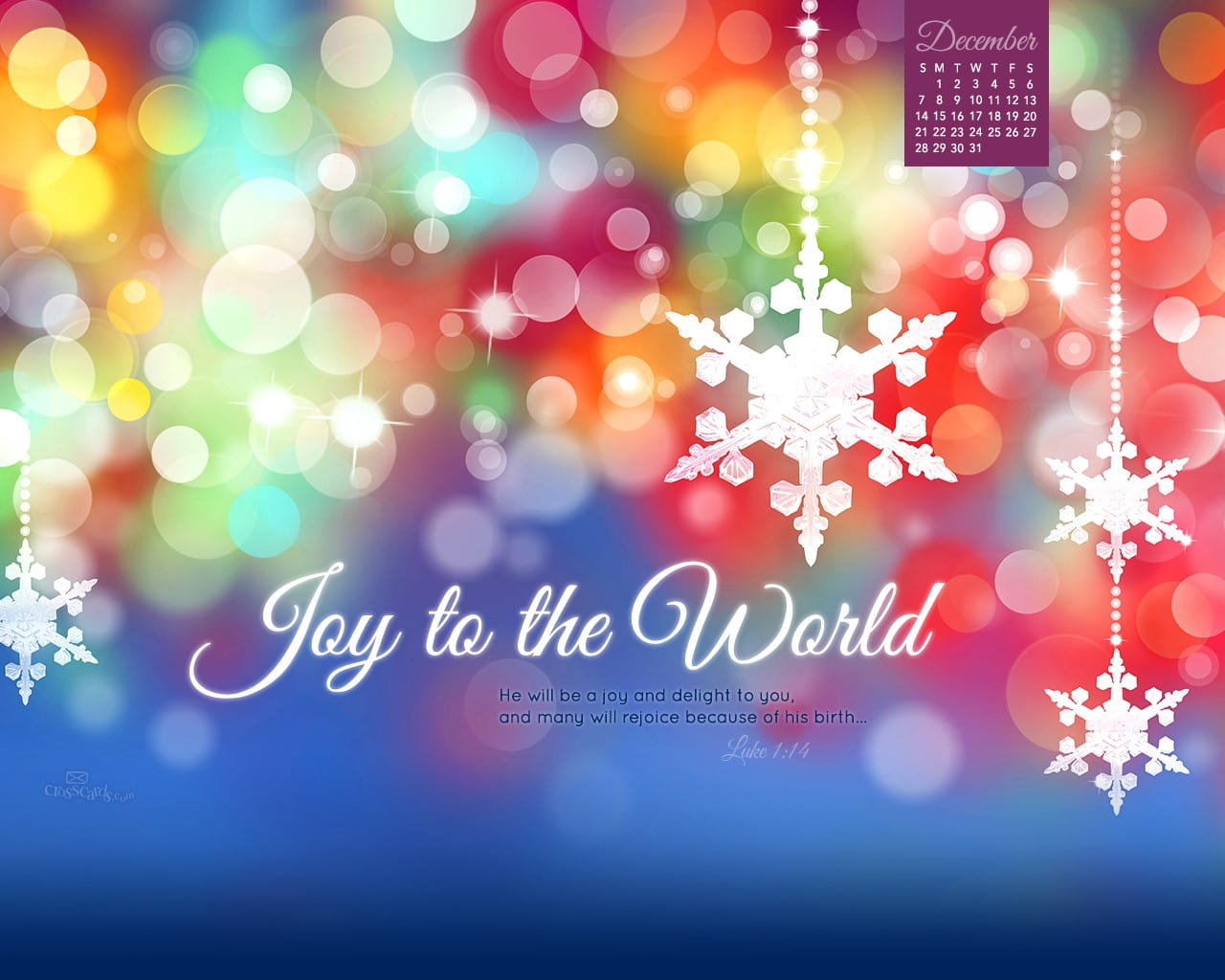 December 2014 joy to the world desktop calendar free - Crosscards christian wallpaper ...
