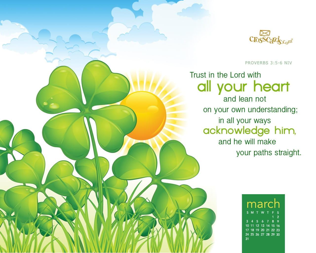 Calendar Wallpaper March : March trust in the lord desktop calendar free