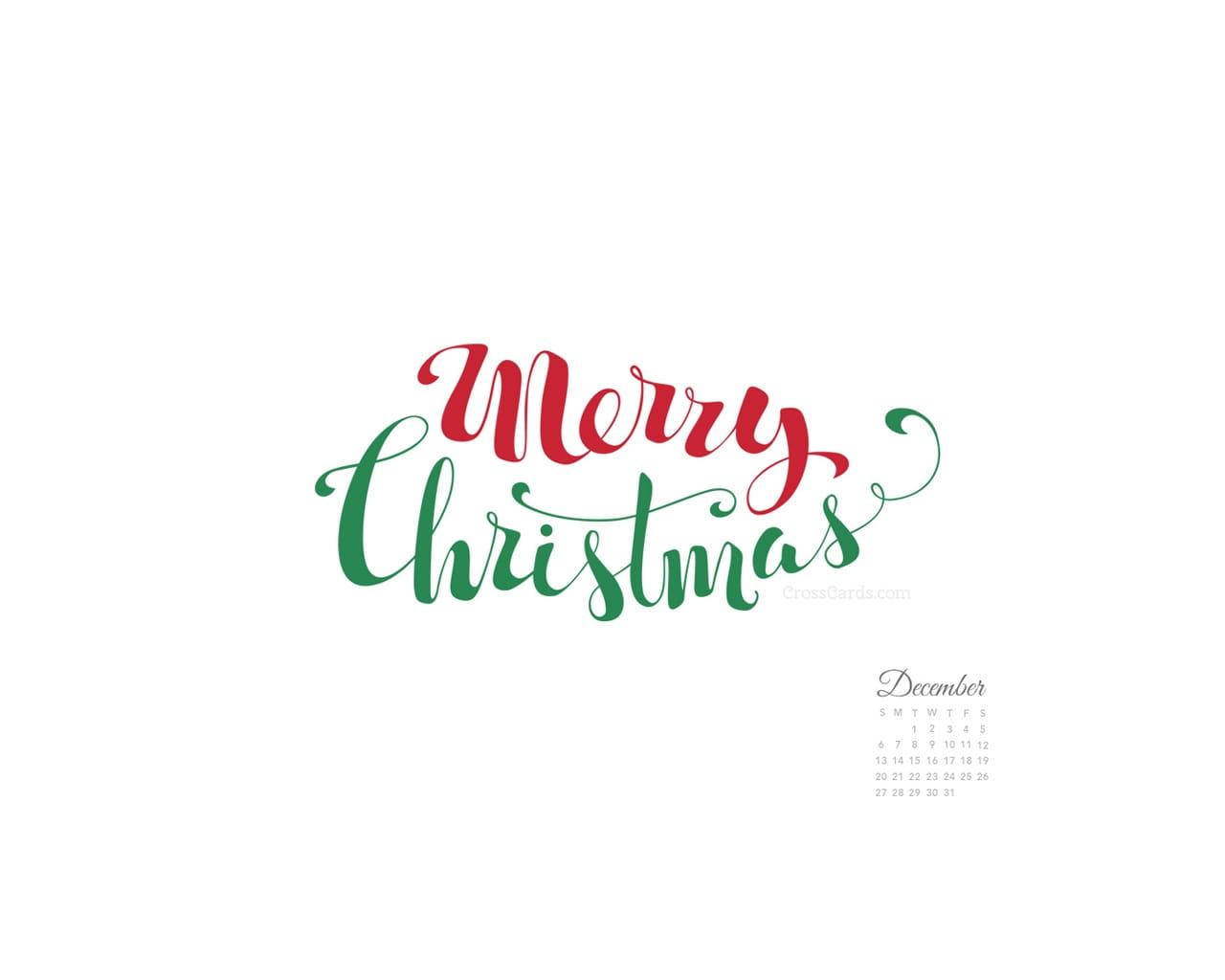 December 2015 Merry Christmas Handwritten Desktop