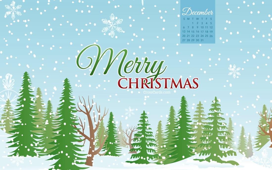 Christmas Calendar Wallpaper : December merry christmas forest desktop calendar