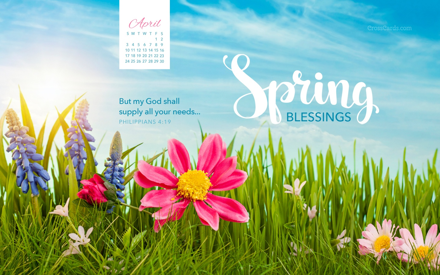 April 2016  Spring Blessings Desktop Calendar Free April