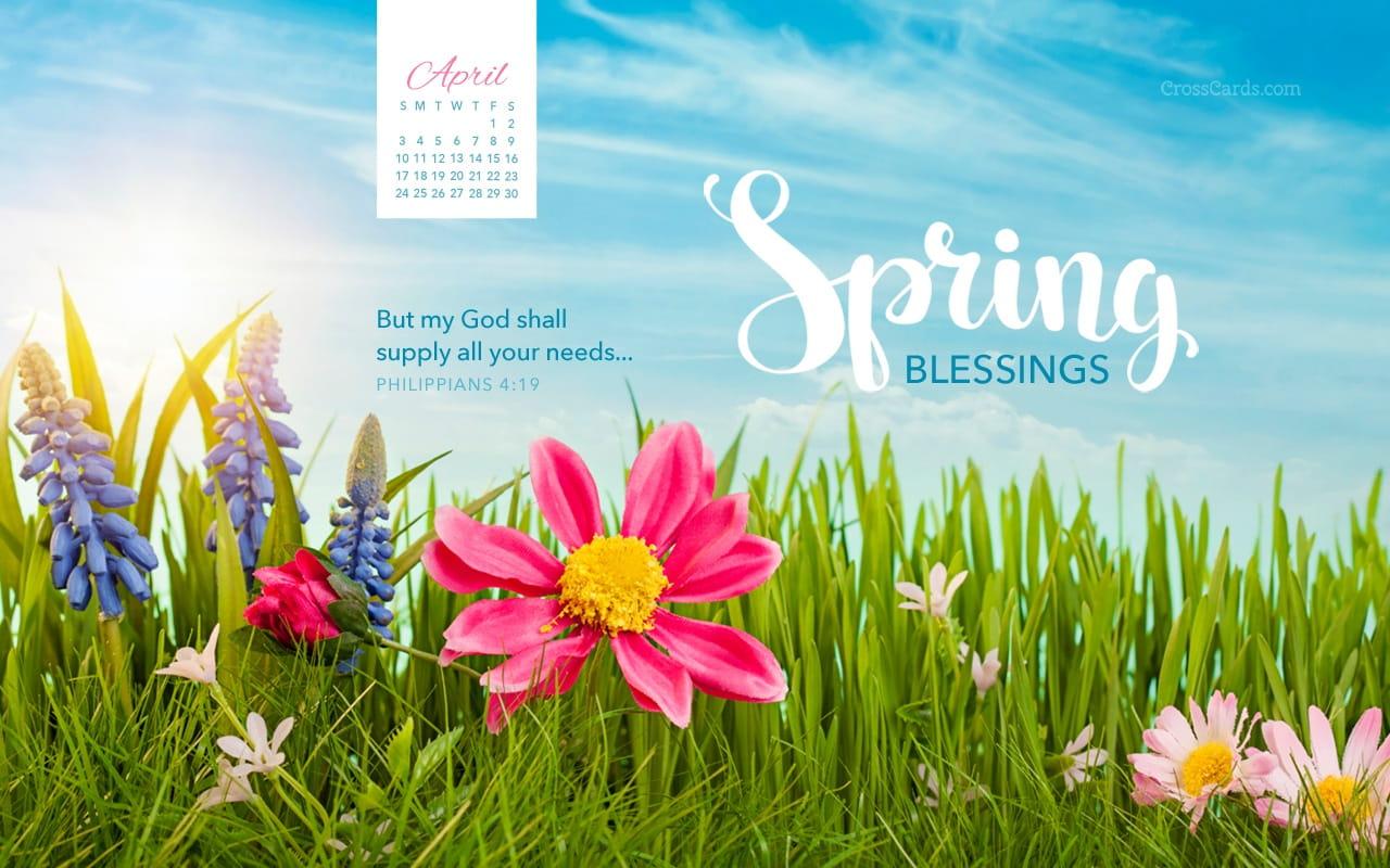 Calendar Wallpaper April : April spring blessings desktop calendar free