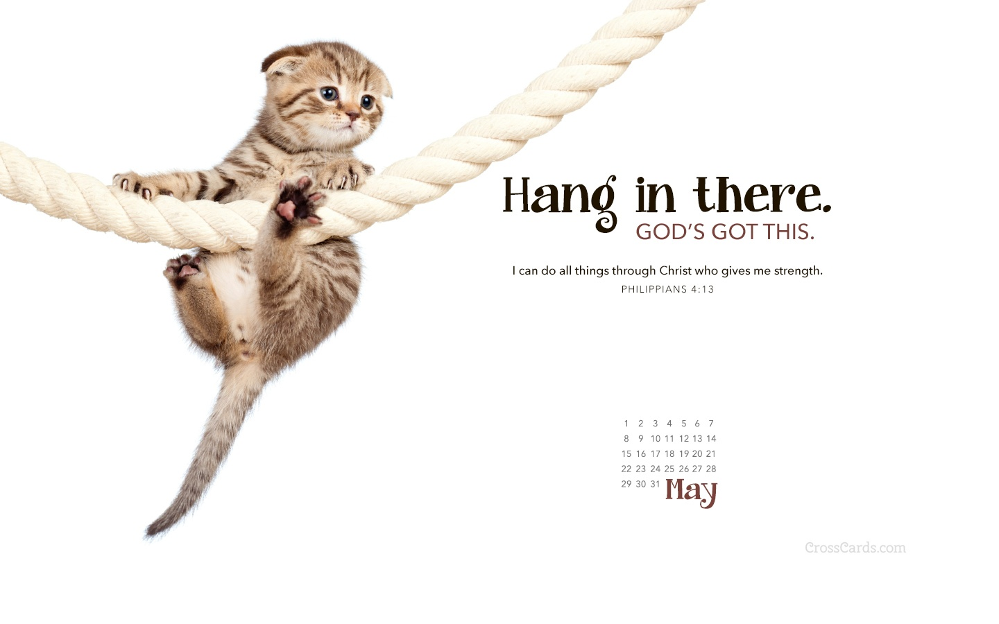 May 2016 - Hang in There Desktop Calendar- Free May Wallpaper