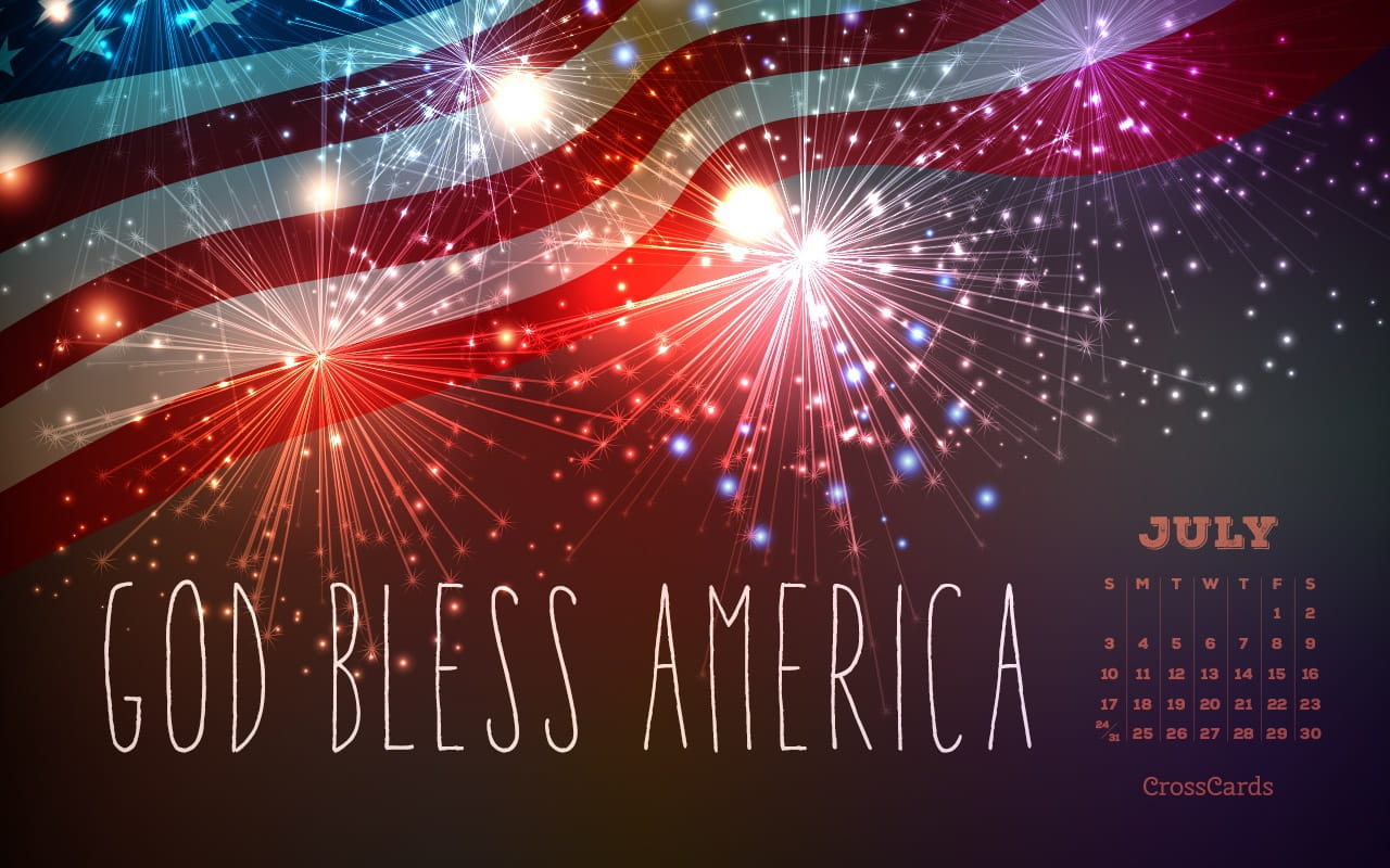 Calendar Wallpaper July : July god bless america desktop calendar free