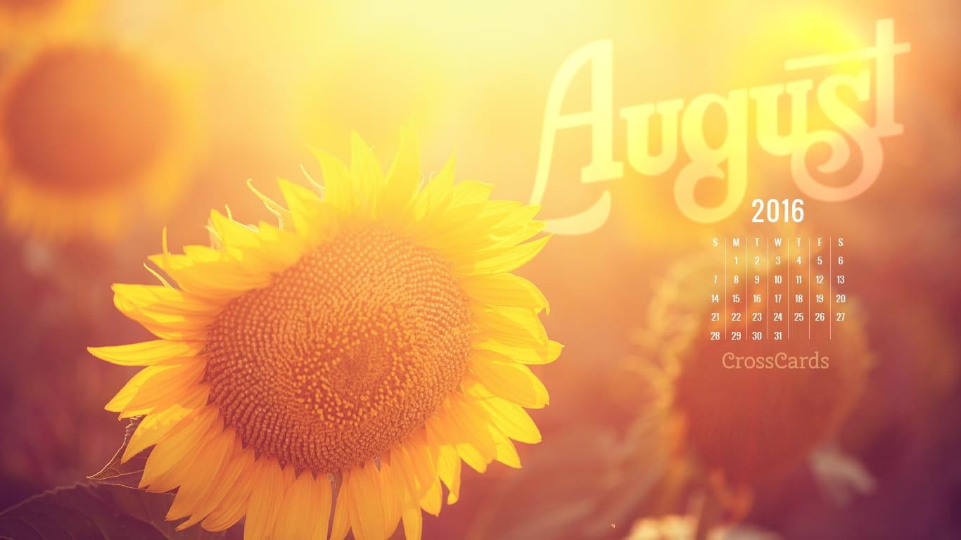 August 2016 - Sunflower Desktop Calendar- Free August Wallpaper