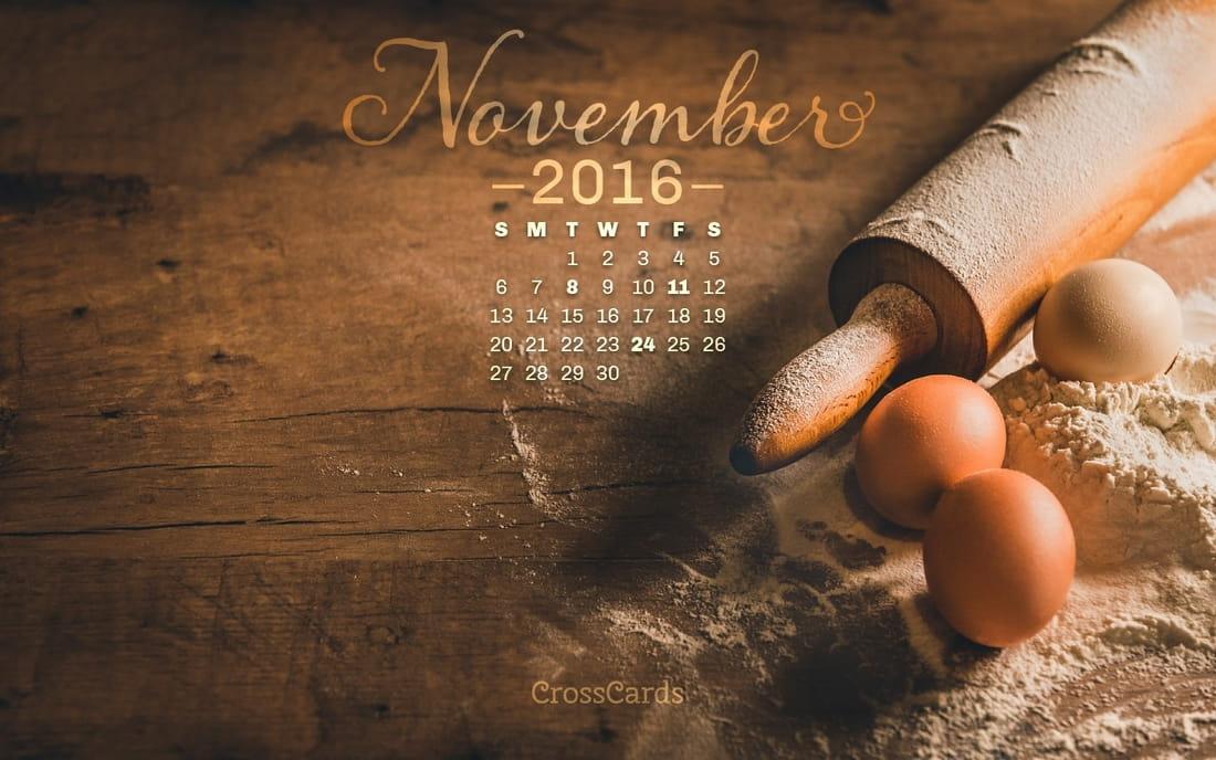 November 2016 - Baking Desktop Calendar- Free November Wallpaper