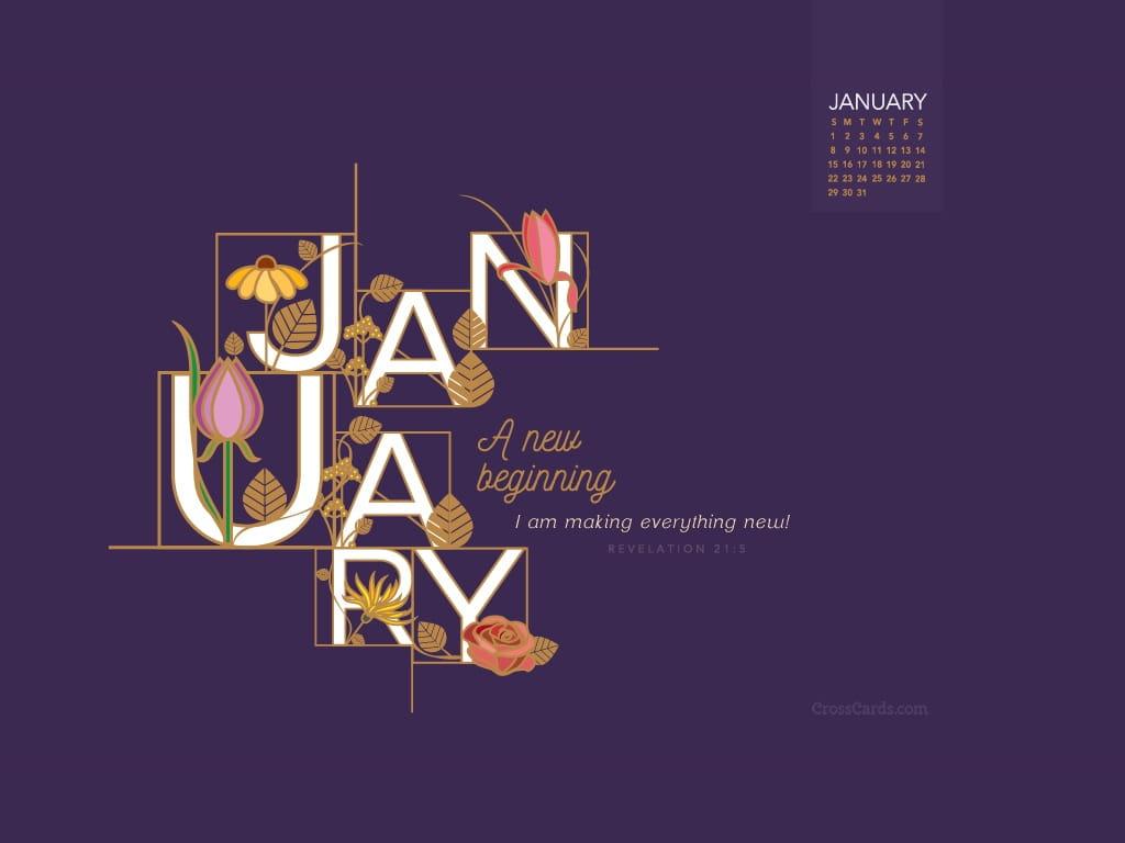 Calendar Cards Printables : January a new beginning desktop calendar free