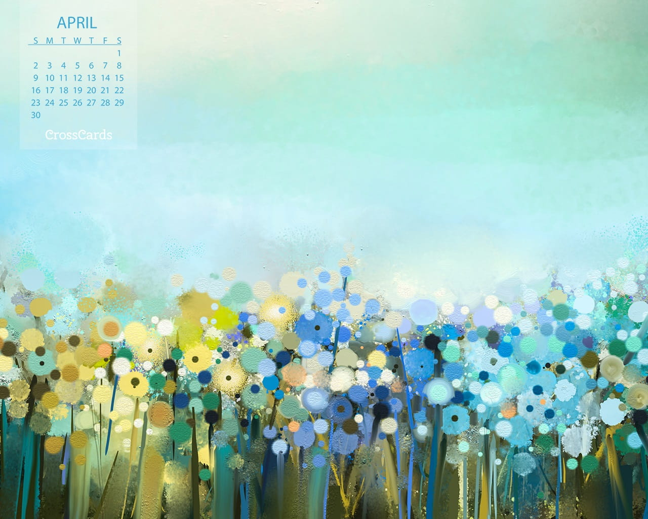 April Calendar Screensaver : April field of flowers desktop calendar free