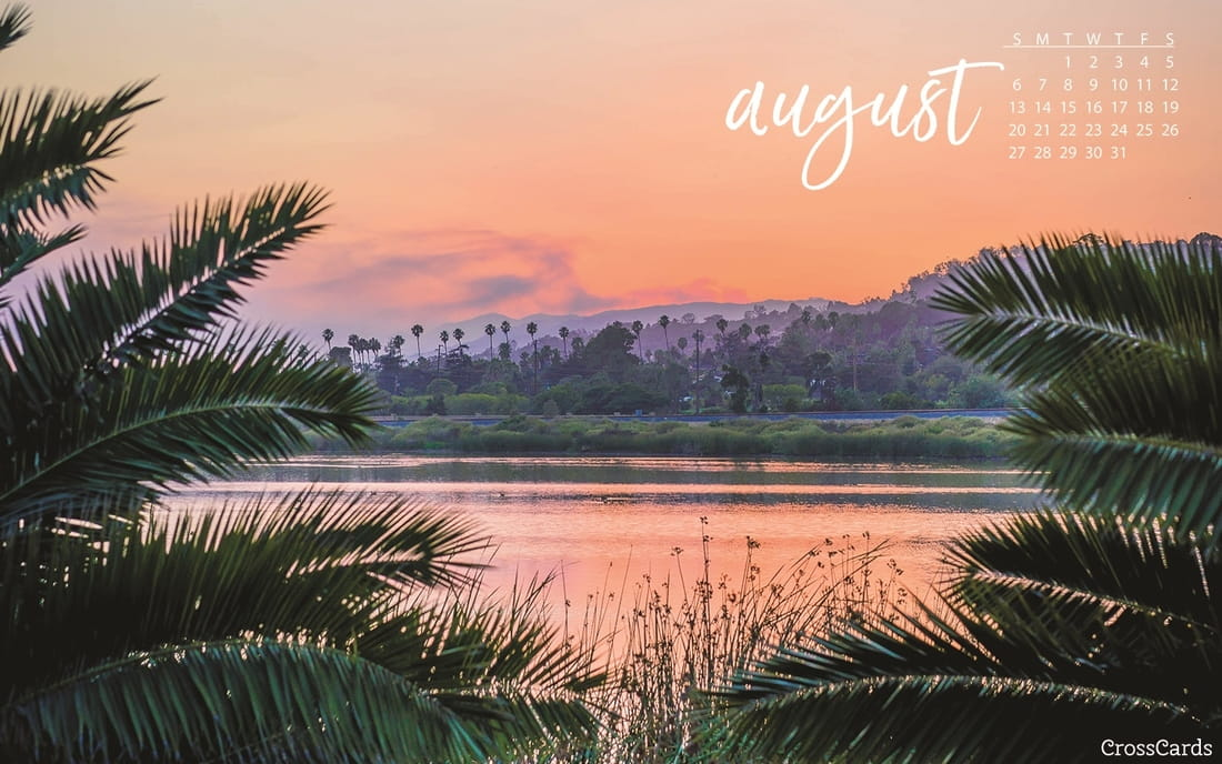 August 2017   Tropical Sunset Desktop Calendar  Free August Wallpaper
