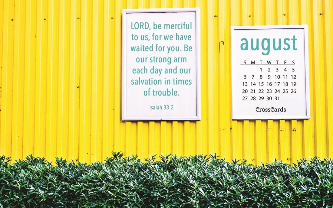 August 2017   Yellow Desktop Calendar  Free August Wallpaper