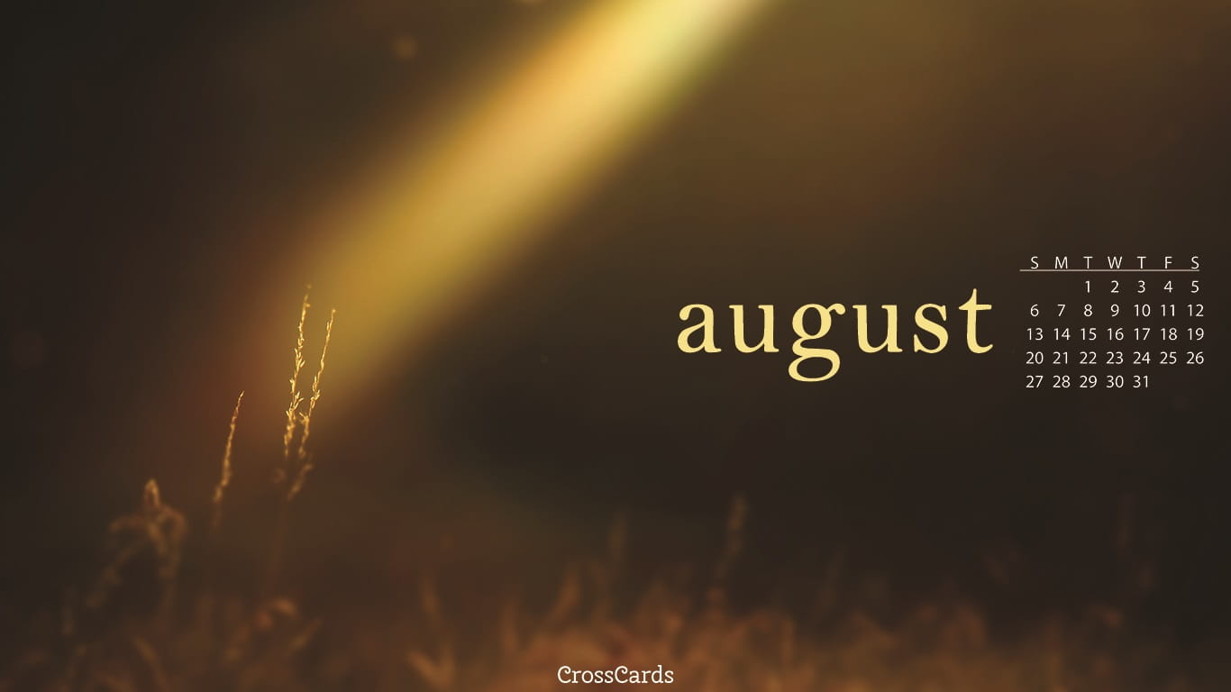 August 2017   Beam Of Light Desktop Calendar  Free August Wallpaper