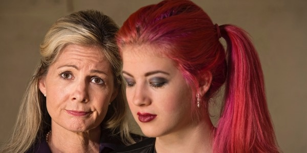Mom and Teen Daughter with Pink Hair LS