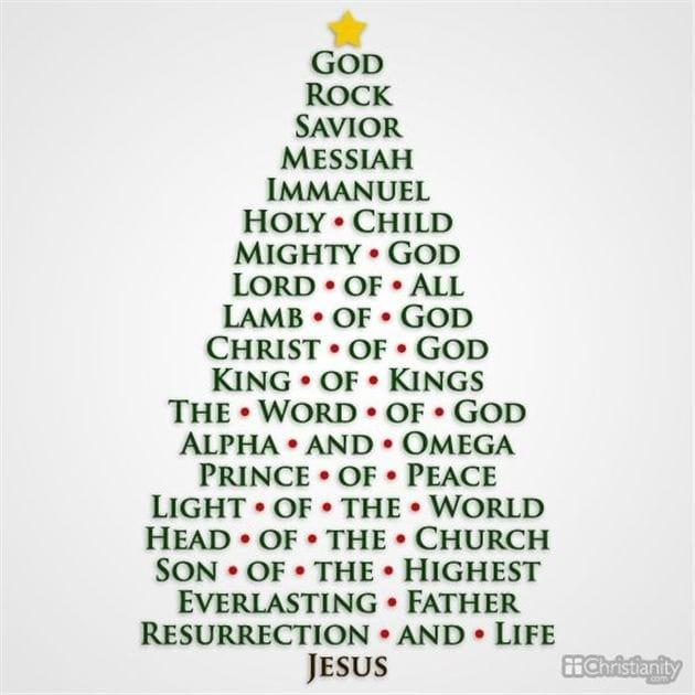names of jesus - christmas tree