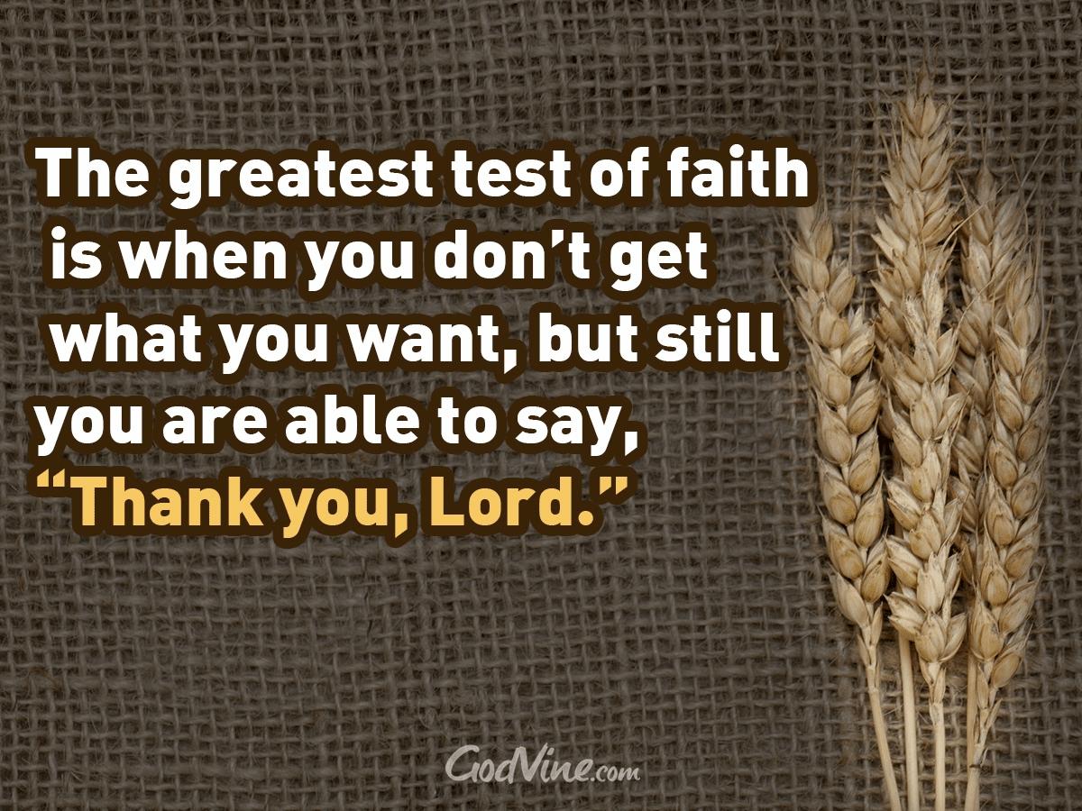 The Greatest Test of Faith