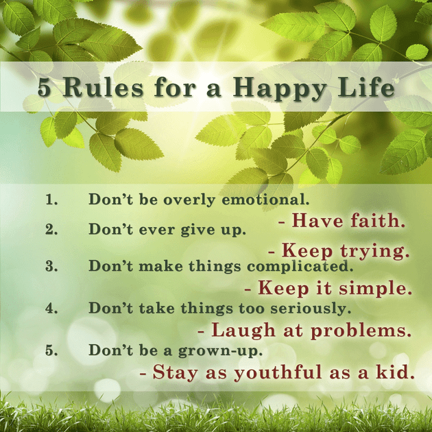 5 Rules for a Happy Life - Inspirations Happy Life