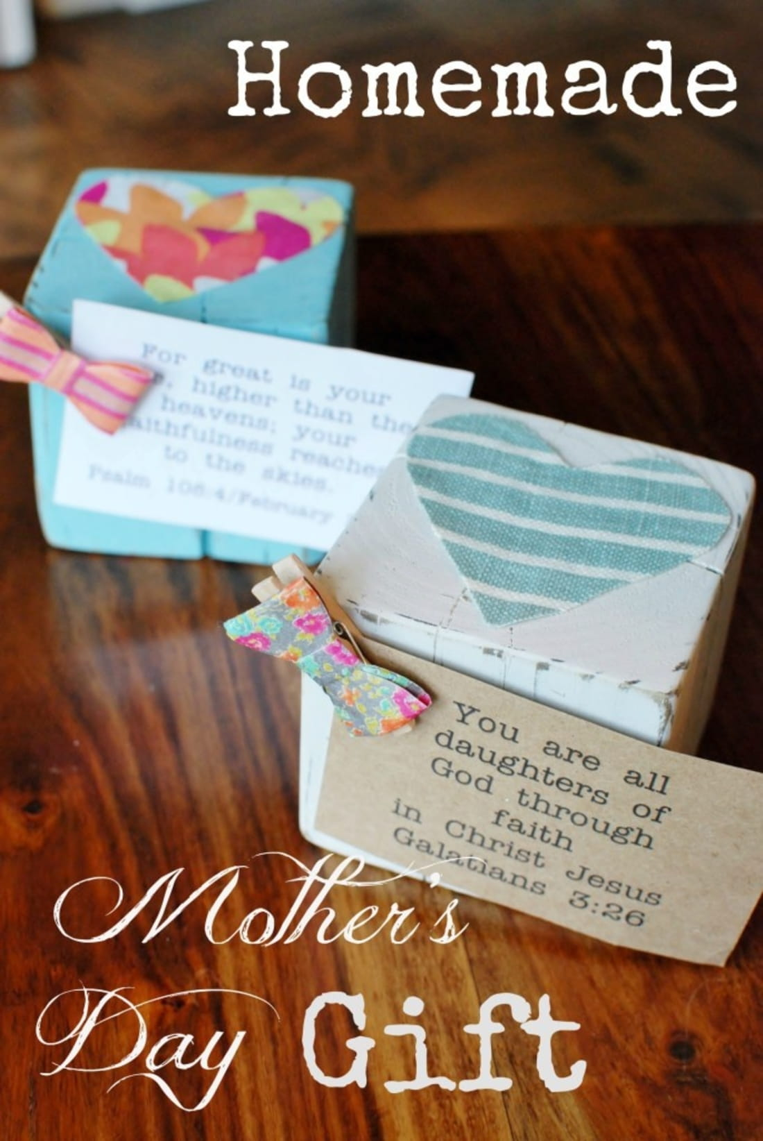 Homemade mother s day gift wood block photo or verse holder Mothers day presents diy