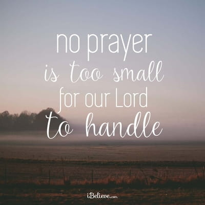 No Prayer is Too Small for Our Lord!