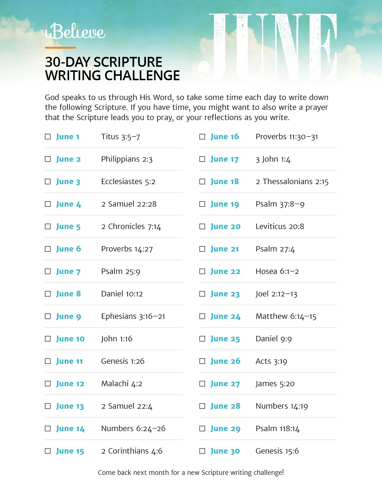 June Scripture Writing Guide