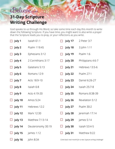 July Scripture Writing Guide