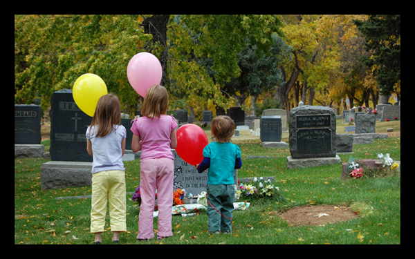 Our three daughters released balloons at the gravesite on what would have been Noah's due date.