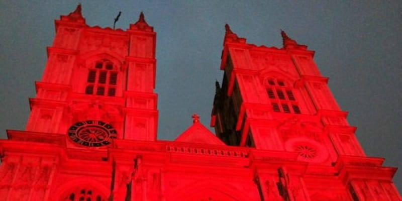 London Landmarks Go Red for Religious Freedom