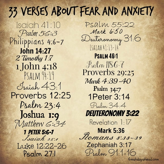 33 Verses about Fear and Anxiety to Remind Us: God is in ...