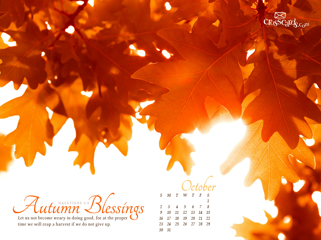 ... Autumn Blessings Desktop Calendar- Free Monthly Calendars Wallpaper