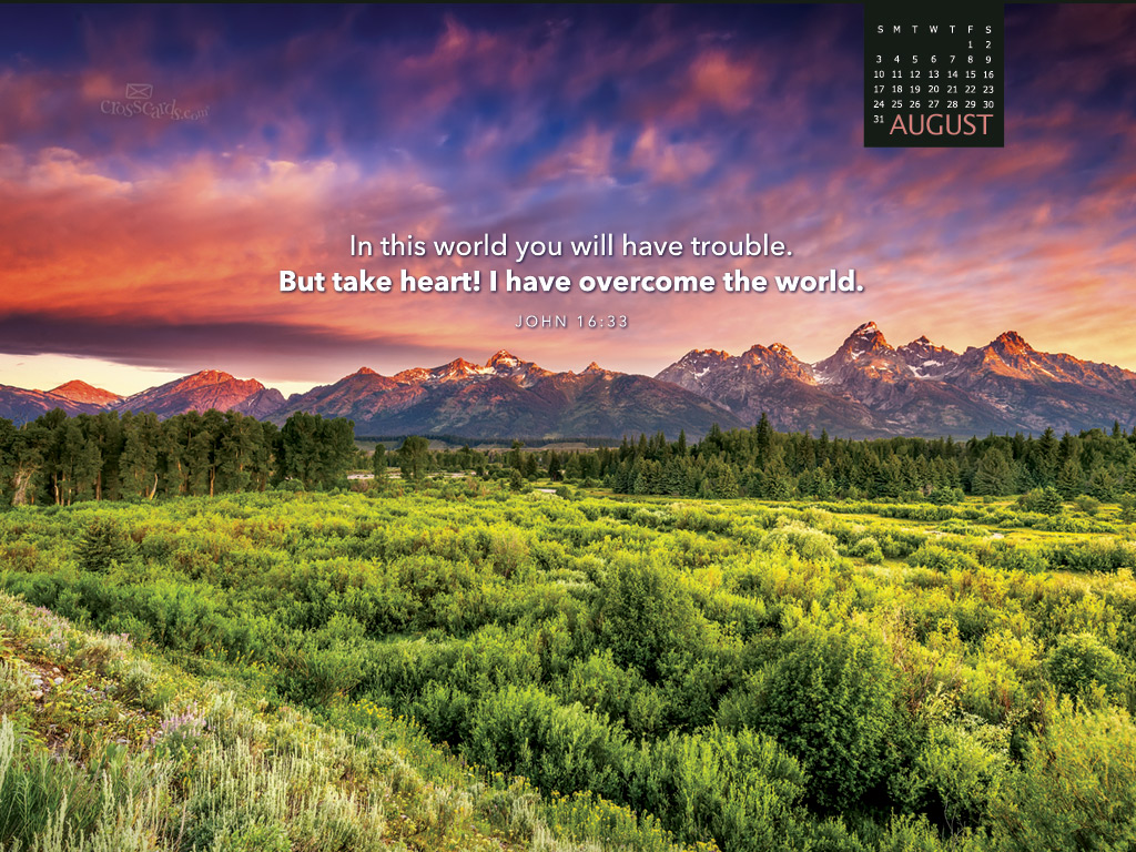 August 2014 john 16 33 desktop calendar free monthly - Crosscards christian wallpaper ...