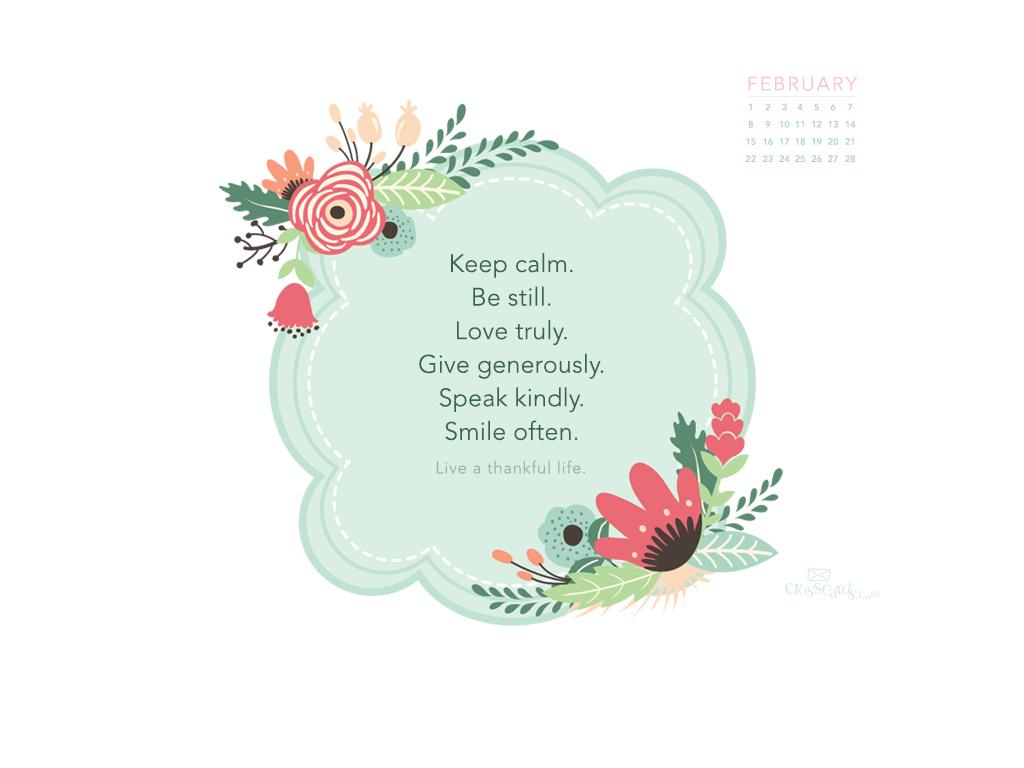 February 2015 - Thankful Life Desktop Calendar- Free ...