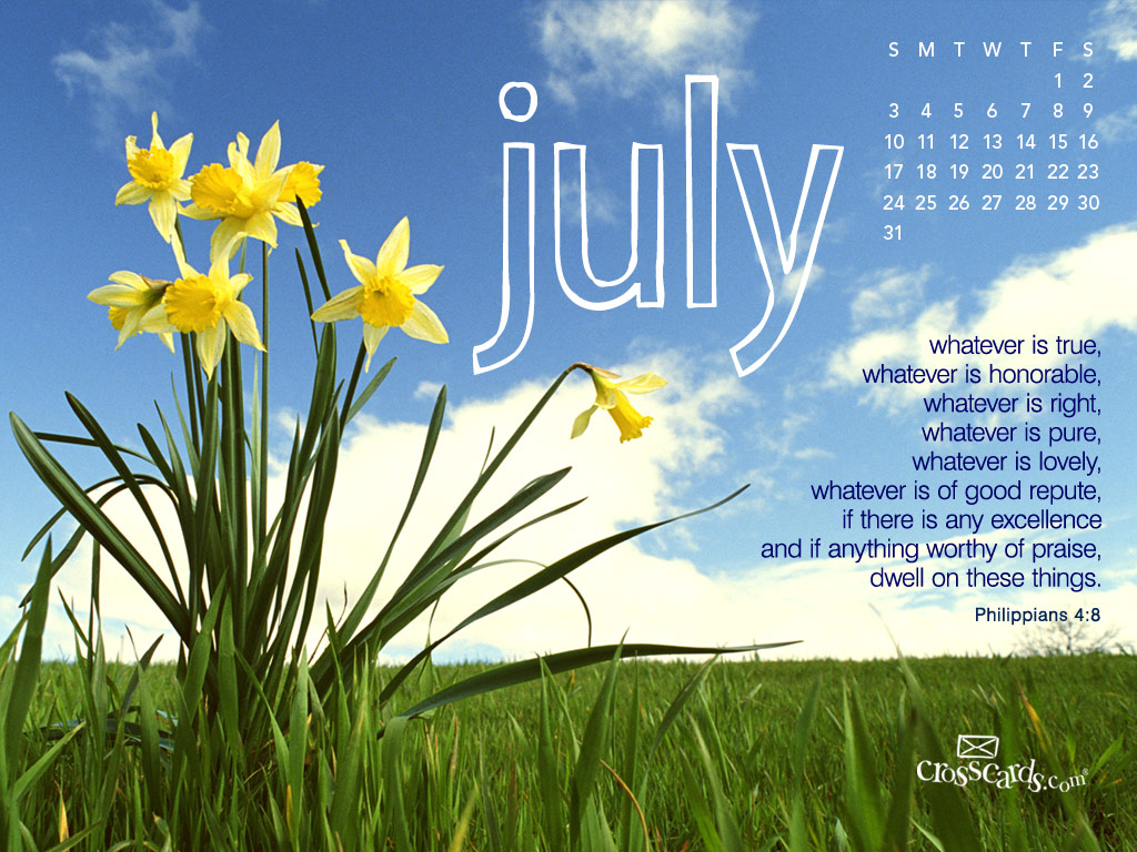 Christian Wallpaper Calendar : July daffodils desktop calendar free monthly