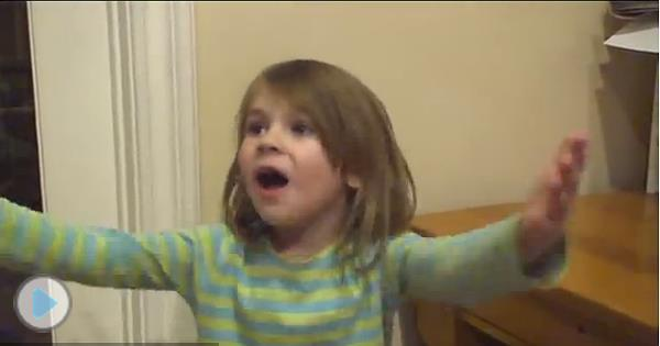 adorable little girl is really motivated to be a comedian
