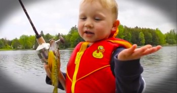 3-Year-Old Catches His First Fish--So Cute!
