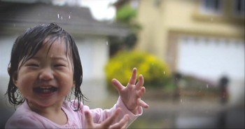Sweet Toddler Dances in the Rain...For the Fir