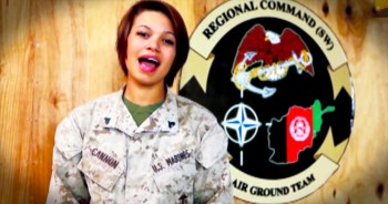 Marine Sings Beautiful Version Of 'God Bless America'