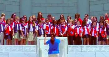 American Heritage Girls National Choir sings America The Beautiful at ANC Memorial Amphitheater