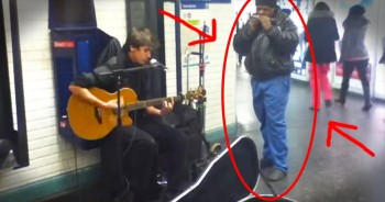When This Street Performer Started Strumming, An Older Man