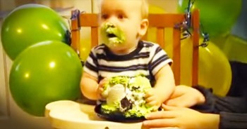 I Thought This Baby Didn't Like His Cake. But At 46 Seconds, He Went ALL In! LOL!