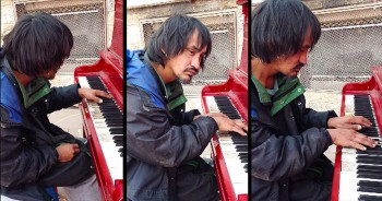 Homeless Man Sits At Piano And Plays