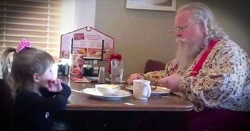 Little Girl Joins Santa Claus For Breakfast Because She Doesn't Want Him Eating Alone