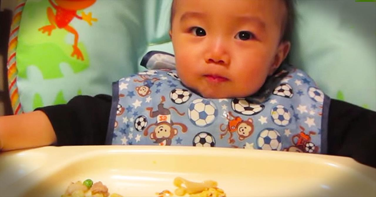Adorable Baby Hilariously Eats Food Like a Ninja